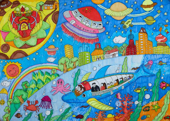 表现性绘画《新时代的旅游》    图片